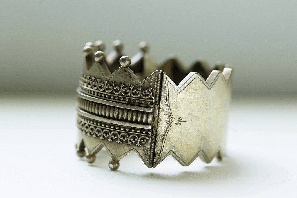 Victorian Gilded Silver Crown Bangle
