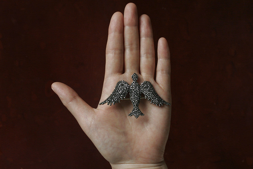 Victorian Cut Steel Bird Brooch