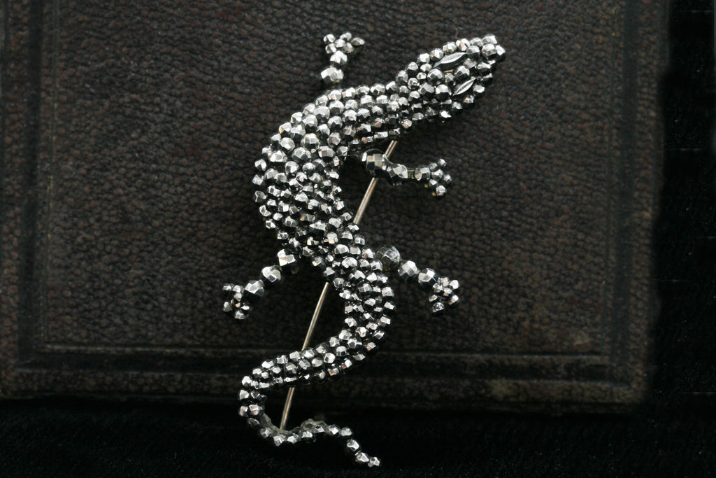 Large Cut Steel Lizard Brooch