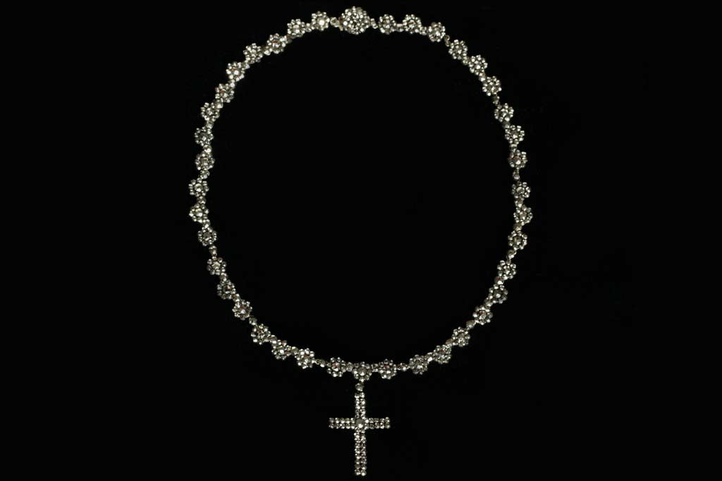 Victorian Cut Steel Necklace with Cross Pendant