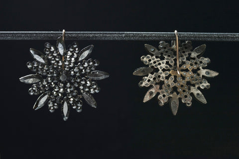 Victorian Snowflake Cut Steel Earrings