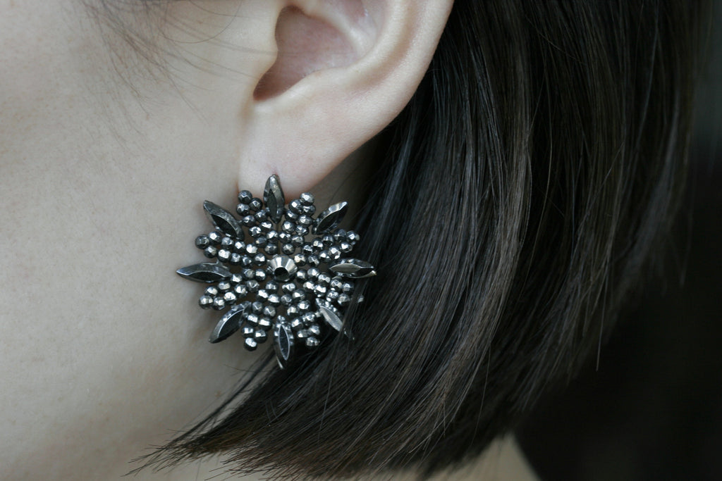 Victorian Snowflakes Cut Steel Earrings