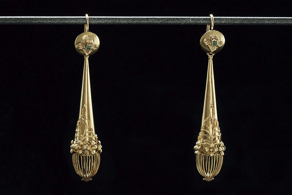 Georgian Gold and Emerald Torpedo Earrings