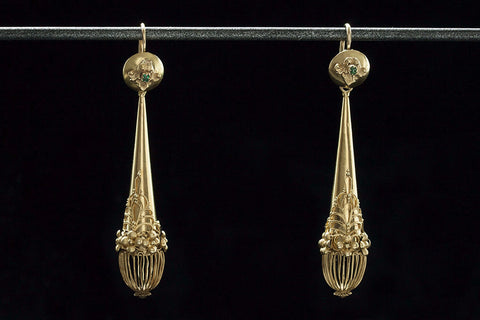 Georgian Gold and Emerald Day Night Earrings