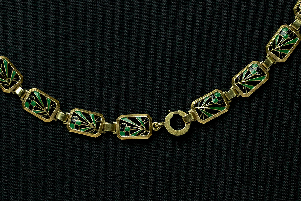 Art Deco Enamel Collar Necklace