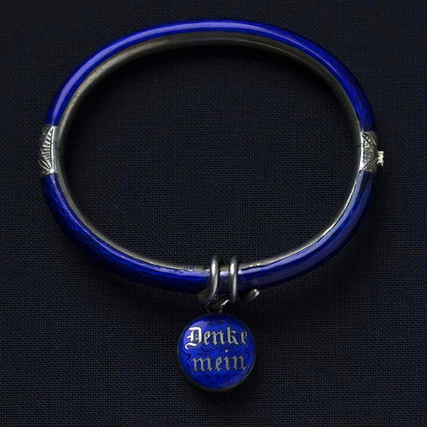 Victorian Blue Enamel 'Think of Me' Locket Bangle