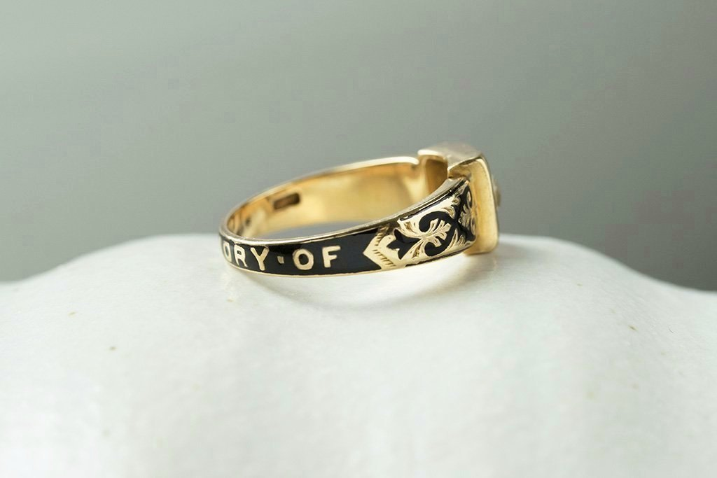 Victorian Diamond Black Enamel Mourning Ring