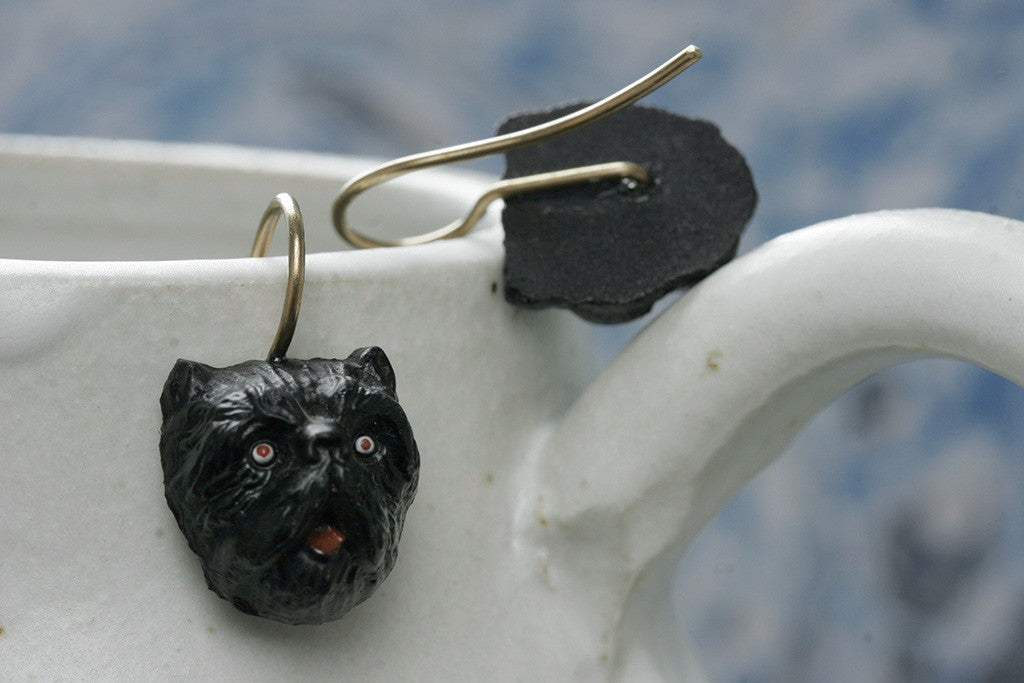 Late Victorian Black Terrier Earrings