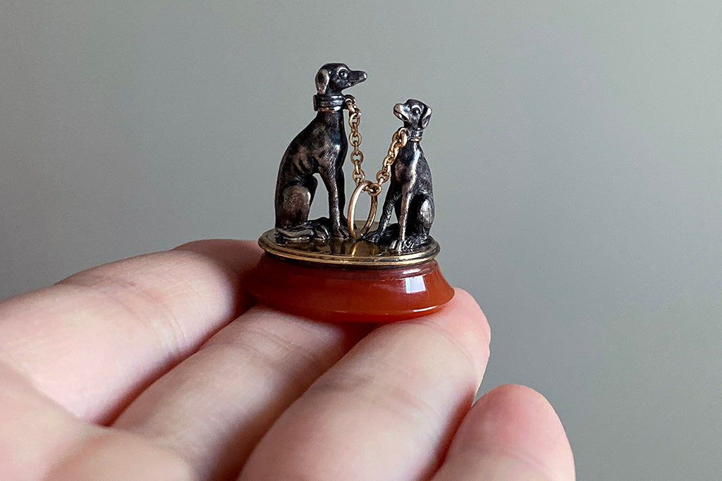 C.1830 Two Dogs Fob Pendant