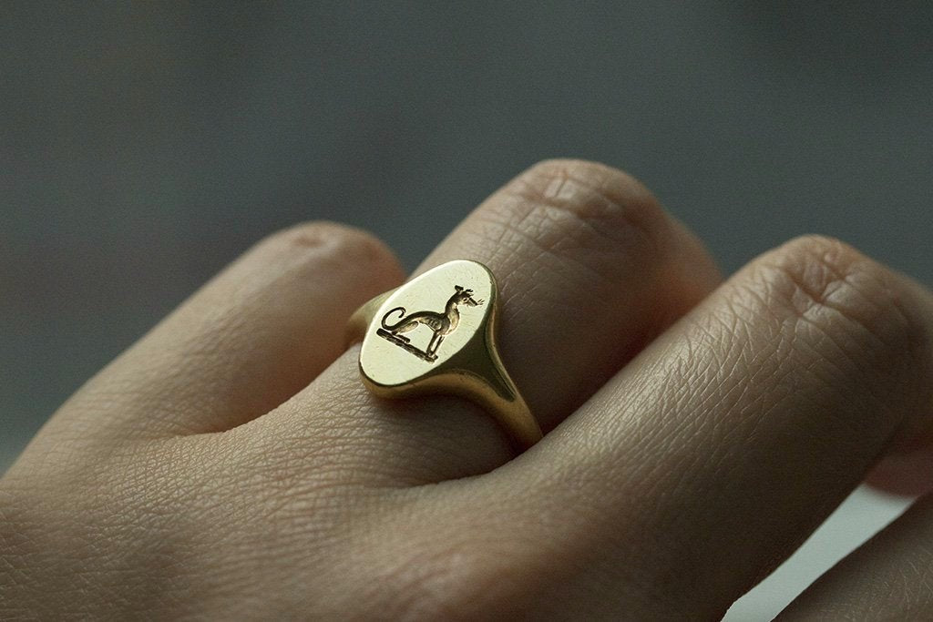 Early 20th Century 18k Dog Signet Ring