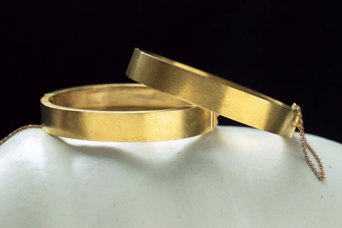 Victorian Matched Set of Diamond Pearl Gold Bangles