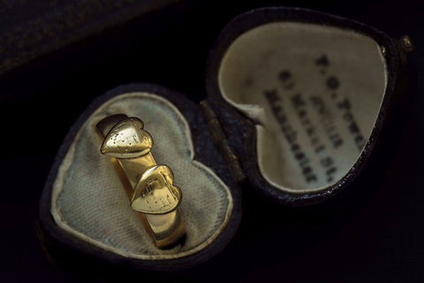 Victorian Double Heart Gold Ring
