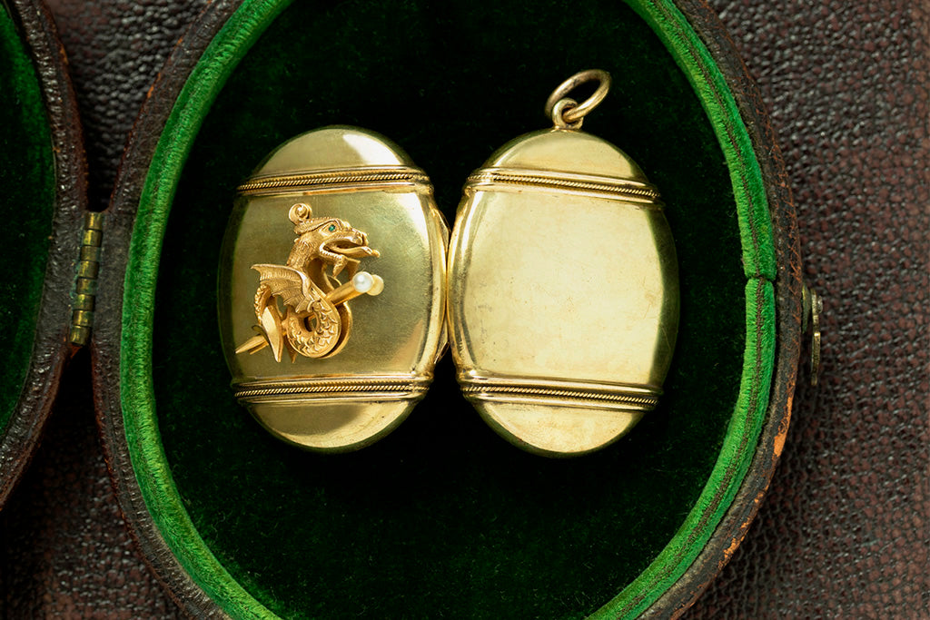 Victorian Dragon Gold Locket