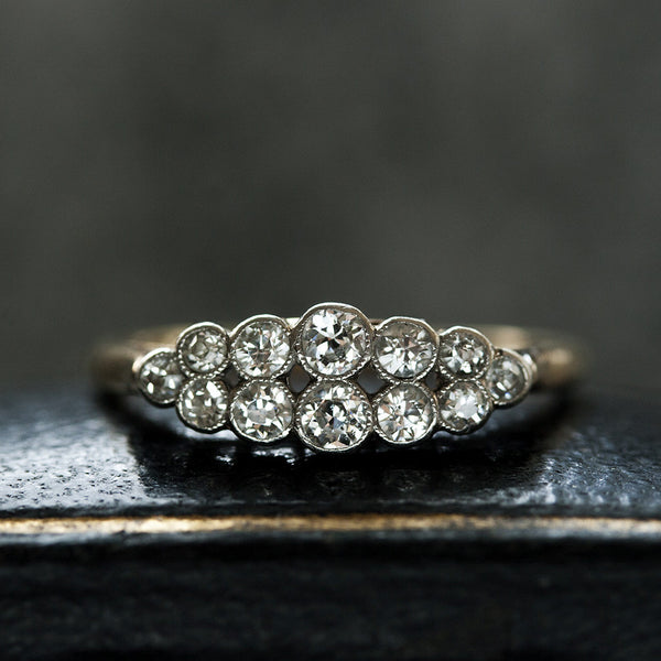 Edwardian Diamond Double Row Cluster Ring