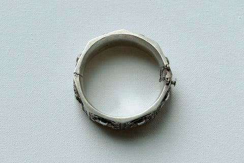 Egyptian Revival Sterling Silver Bangle