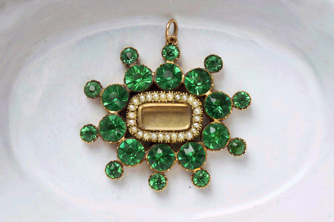 Georgian Emerald Paste and Pearl Pendant