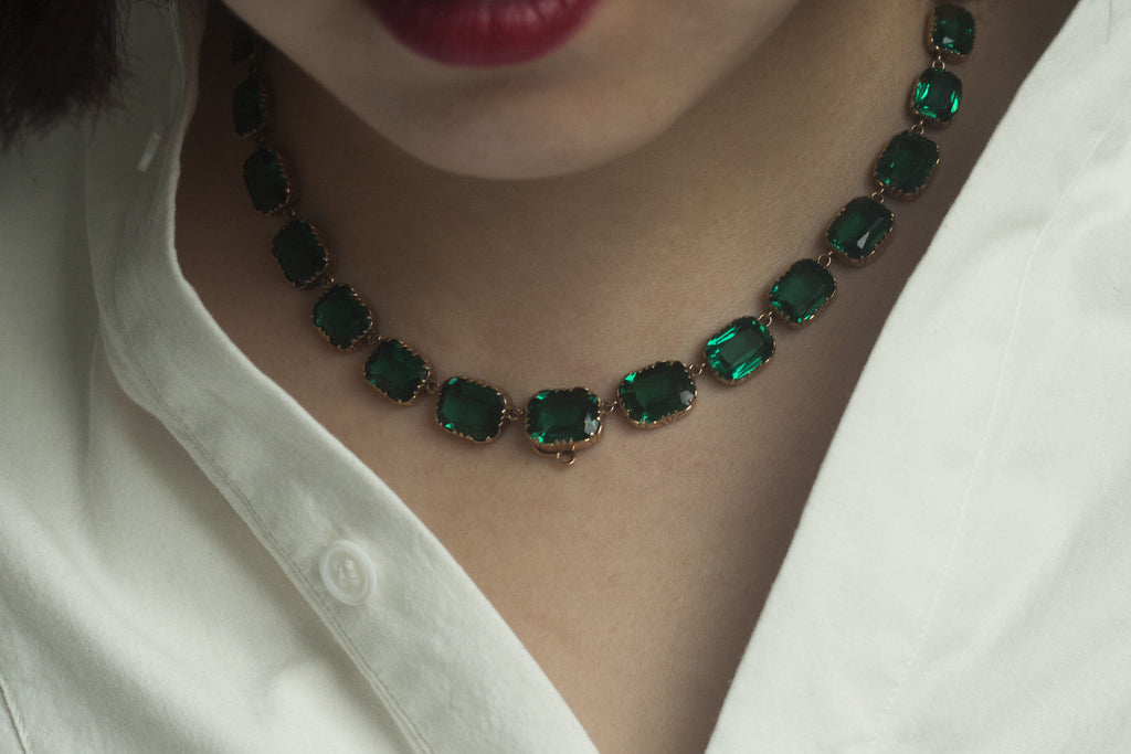 Georgian Emerald Paste Rivière Necklace