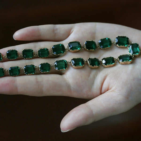 Georgian Green Emerald Paste Rivière Necklace