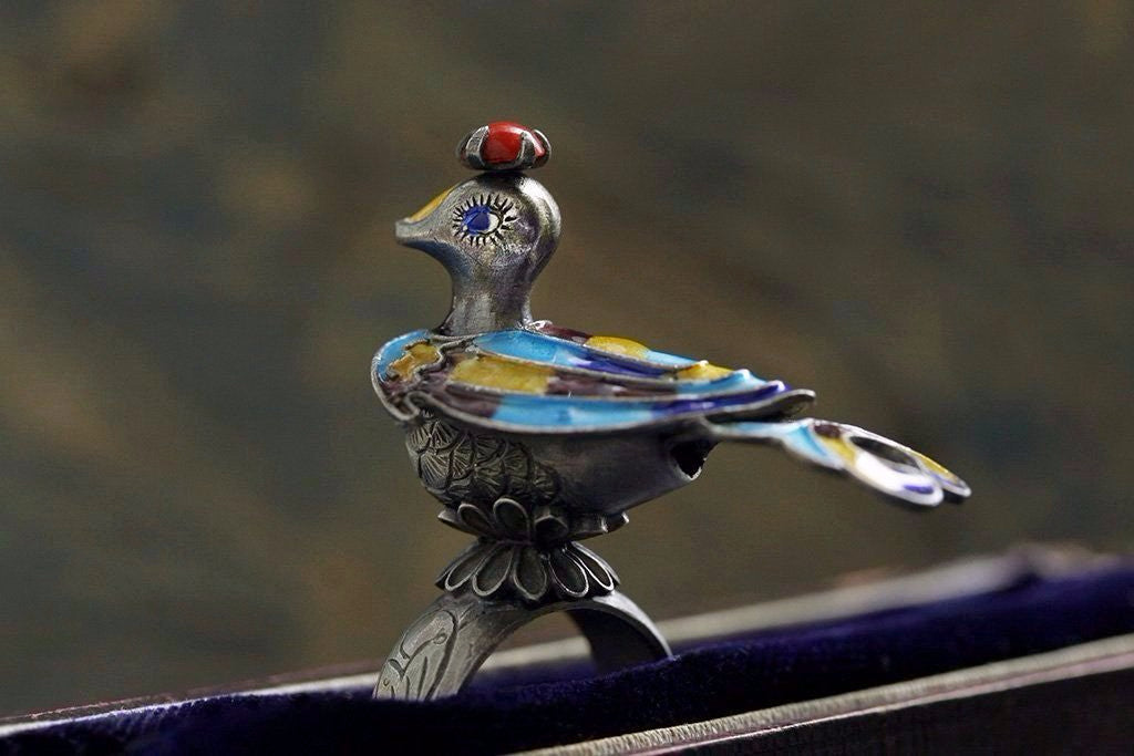Silver Enamel Peacock Ring