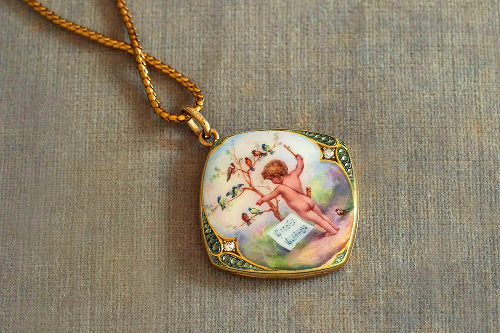 Victorian Enamel and Diamond Putto Cherub Locket