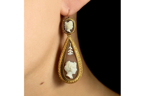 Victorian Etruscan Revival Cameo Drop Earrings