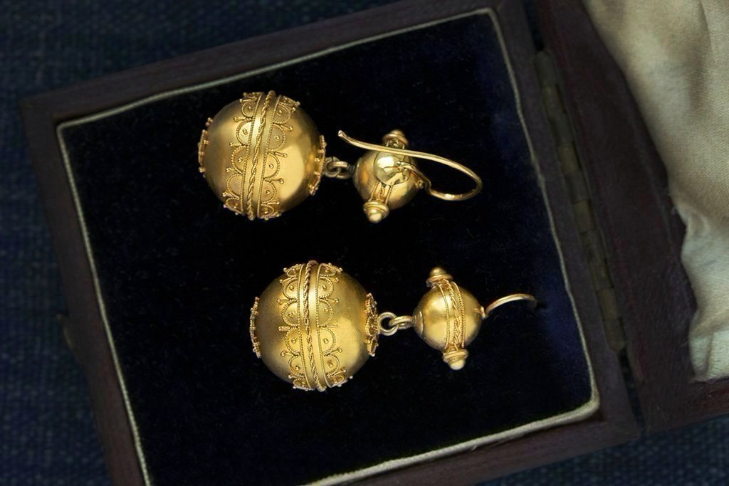 Victorian Etruscan Revival Gold Ball Earrings