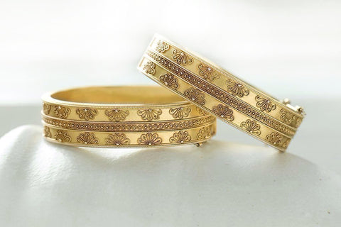 Victorian Matched Set of Etruscan Revival Bangles