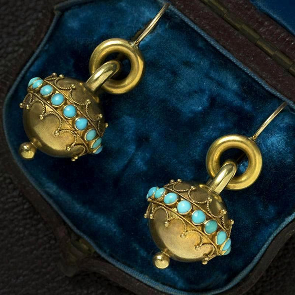 Victorian Etruscan Revival Turquoise Gold Earrings
