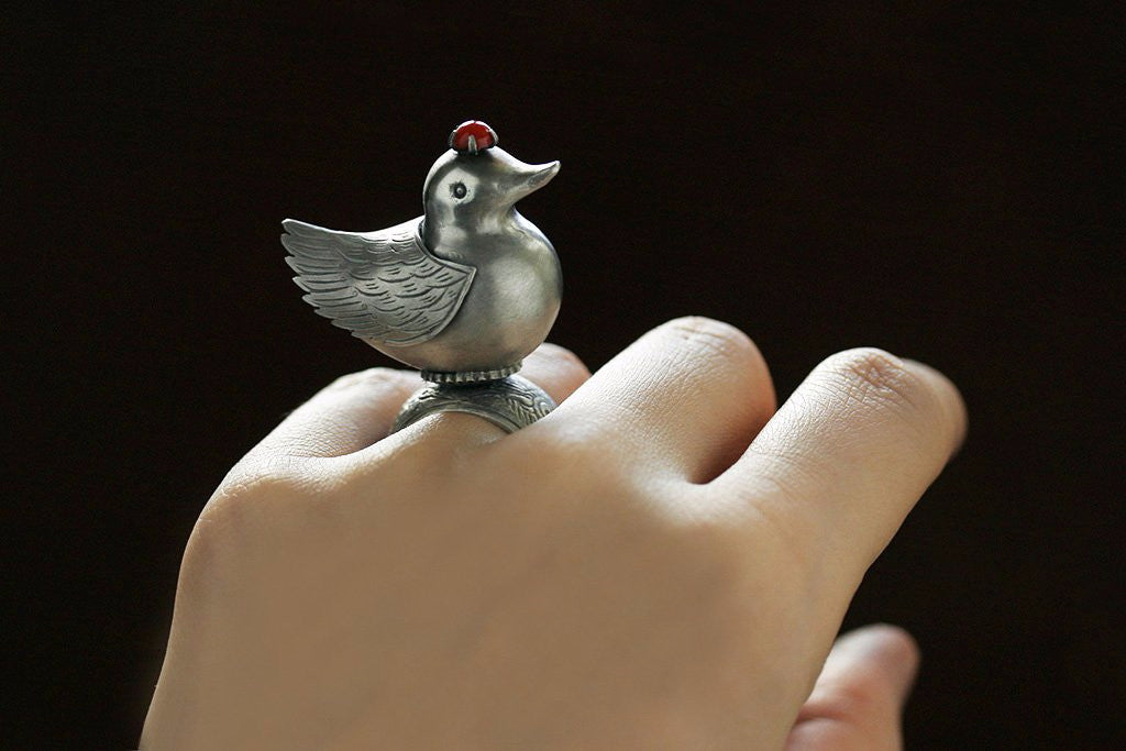 Coral Crown Top Bird Ring