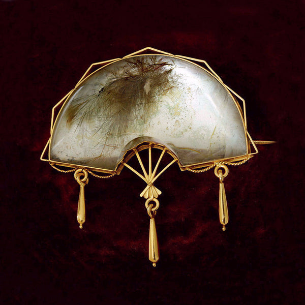 Victorian Rutilated Quartz Fan Brooch