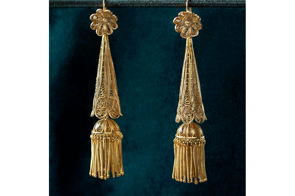 Pair of Filigree & Tassel Earrings