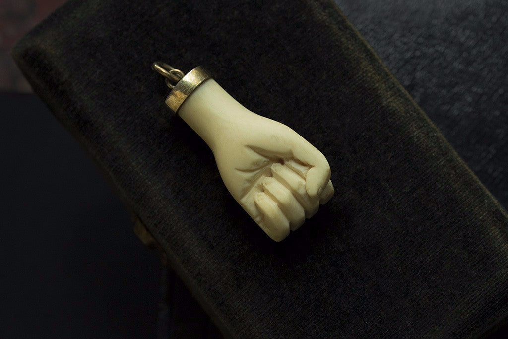 Victorian Large Carved Clenched Fist Amulet
