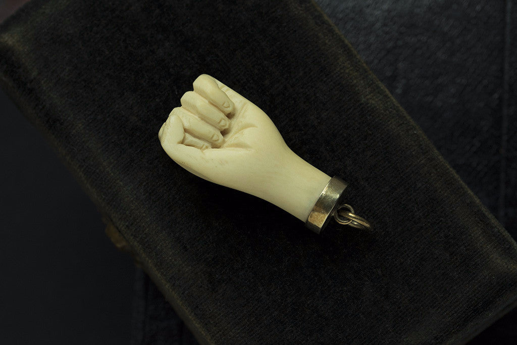 Victorian Hand Carved Clenched Fist Amulet
