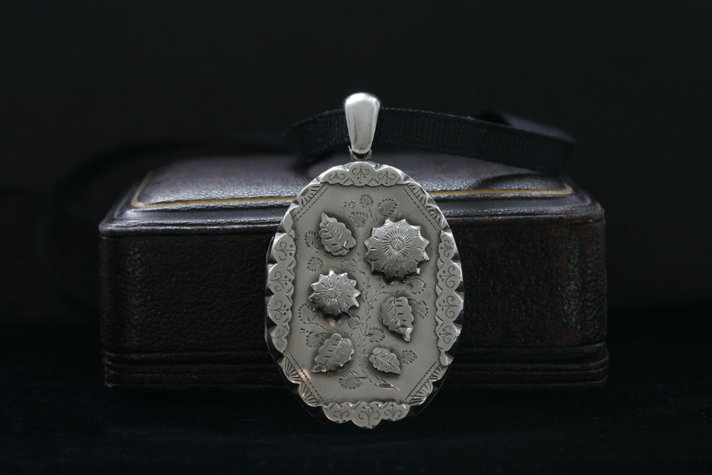 Victorian Sterling Silver Floral Locket