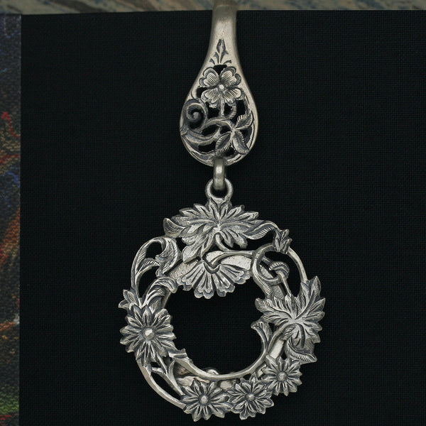 Sterling Silver Key Chain with Flowers and Leaves