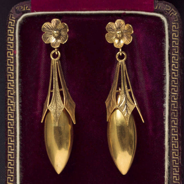Victorian Torpedo Drop Earrings with Flower Top