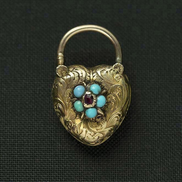 Early Victorian Forget Me Not Heart Padlock