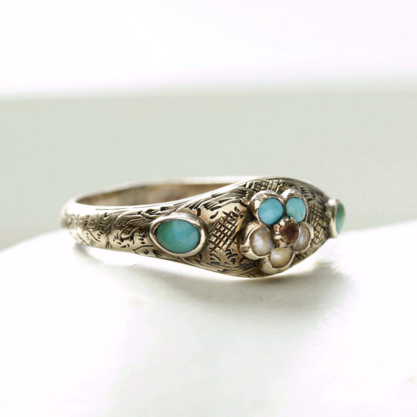 Turquoise and Pearl Forget Me Not Ring