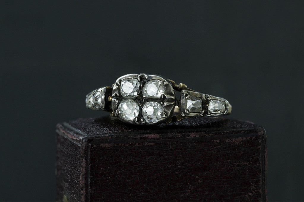 Georgian Four Diamond Top Ring