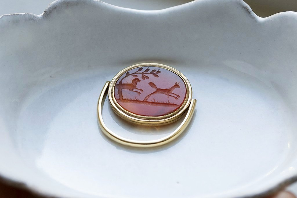 Victorian 'Dog & Fox' Intaglio Seal Ring