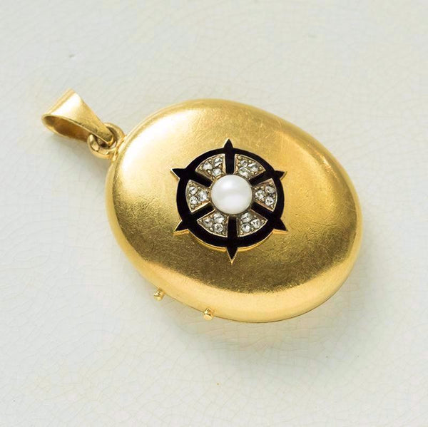 Antique French Diamond Pearl Black Enamel Locket