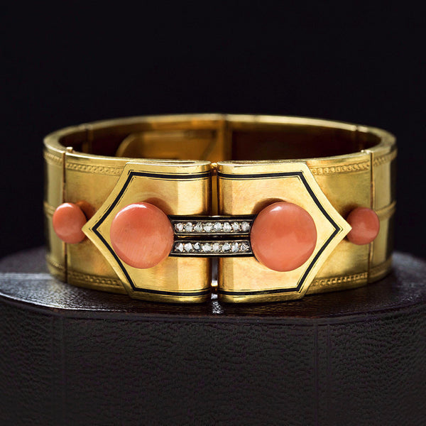 Antique French Coral, Diamond and Black Enamel Bracelet