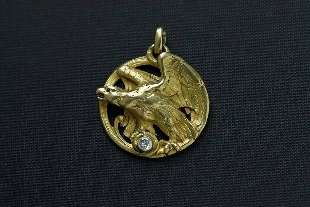 French Art Nouveau Eagle Diamond Pendant