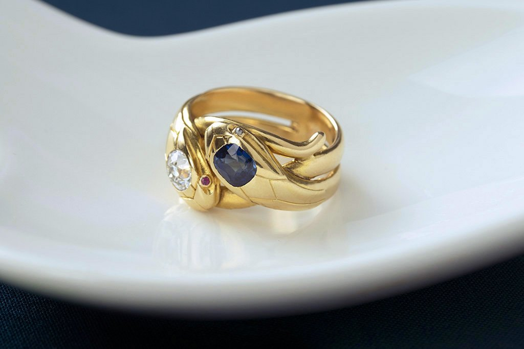 Antique French Diamond Sapphire Snake Ring