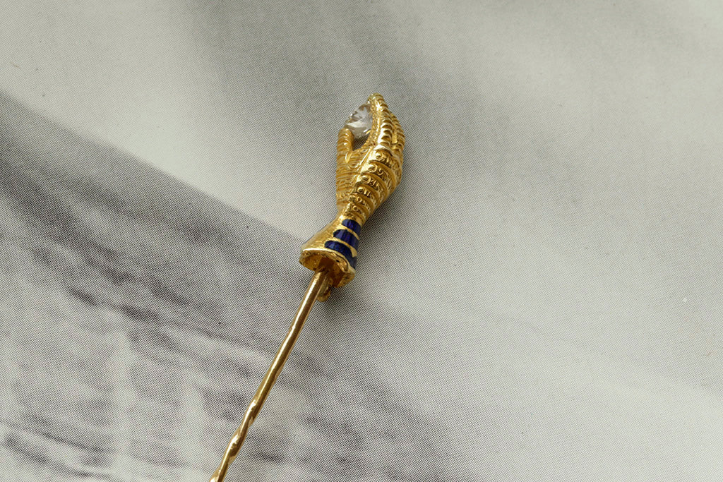 19th Century French Hand Stick Pin with Diamond
