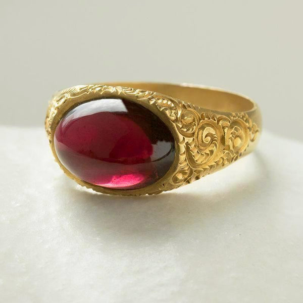 Victorian Open Back Garnet Cabochon Ring