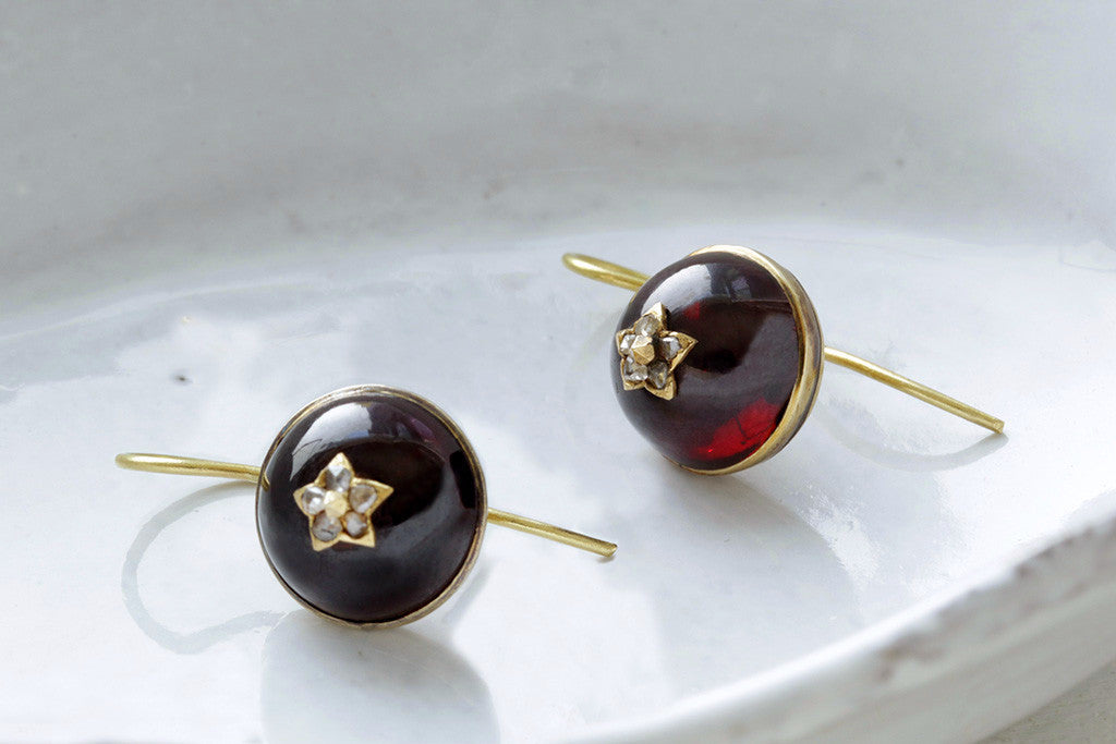 Victorian Garnet Cabochon and Diamond Earrings