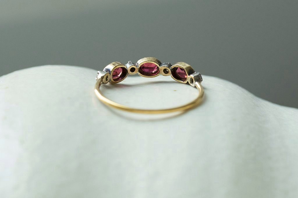 Early Victorian Garnet Diamond Half Hoop Ring