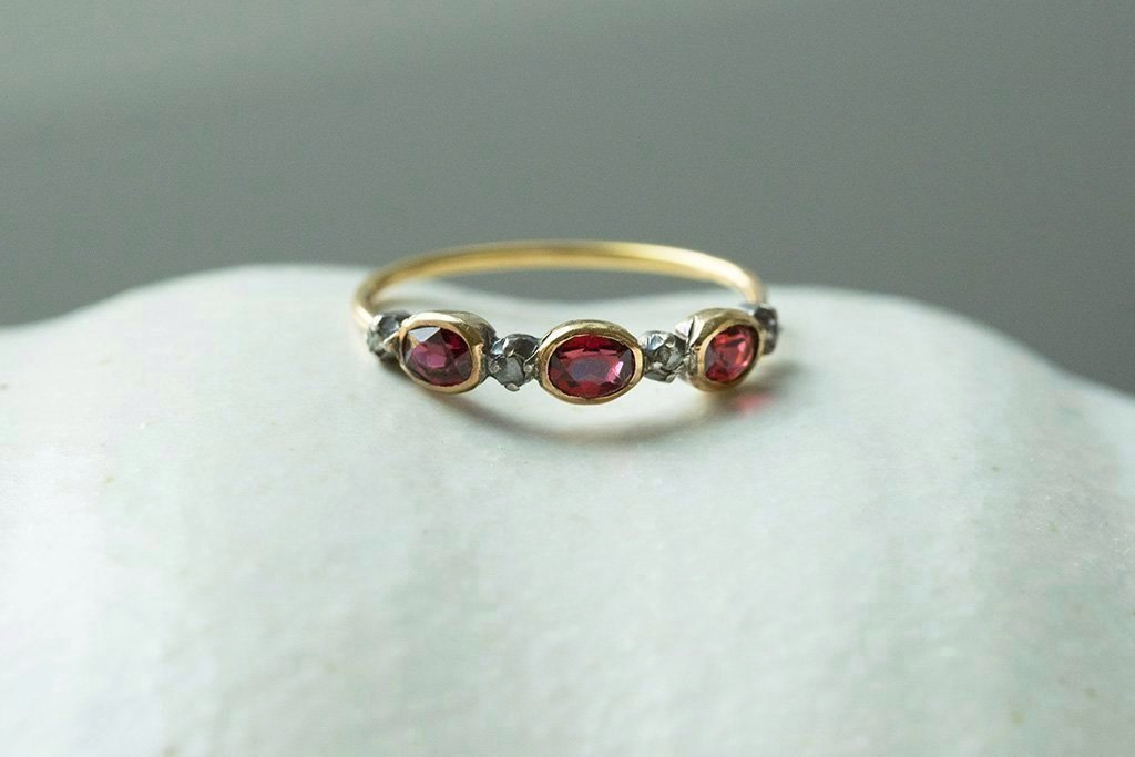 Early 19th Century Garnet Diamond Half Hoop Ring