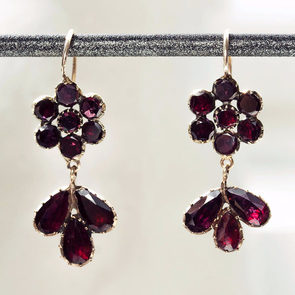Georgian Garnet Flower Drop Earrings